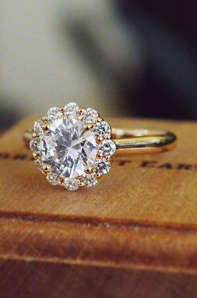 14K Rose Gold Lotus Flower Diamond Ring ♥