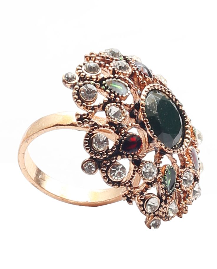 Step out looking marvelous with this floral shapedring decorated with gemstones.