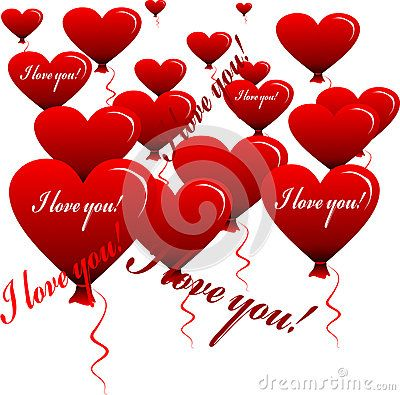Glittering Heart-shaped balloons Vector with inscription.