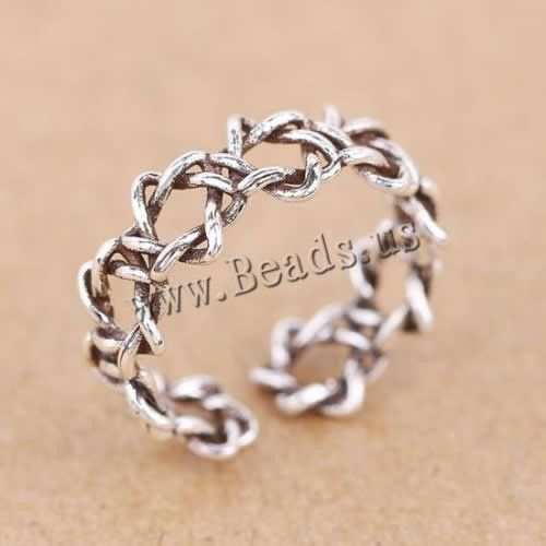 Thailand Sterling Silver Cuff Finger Ring, open & hollow
