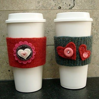 Re-useable sweater coffee cup wrap