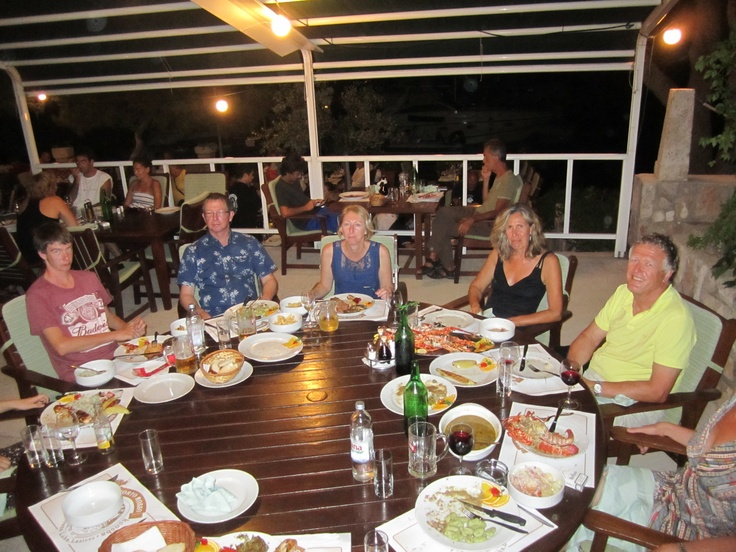 2012 August Croatia; another great meal with wonderful friends on the Sunsail flotilla