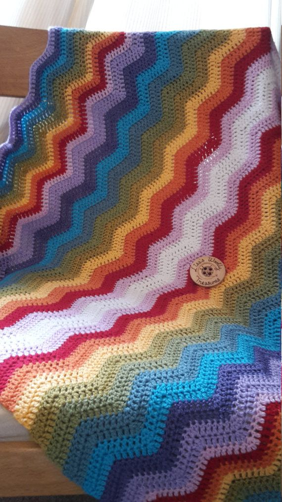 Rainbow Waves Lap Blanket  Cot Blanket  by LisasWoollyTreasures