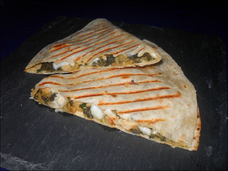 Quesadillas blettes, mozzarella & poulet http://recettesdiman.canalblog.com/archives/2013/05/06/27088477.html