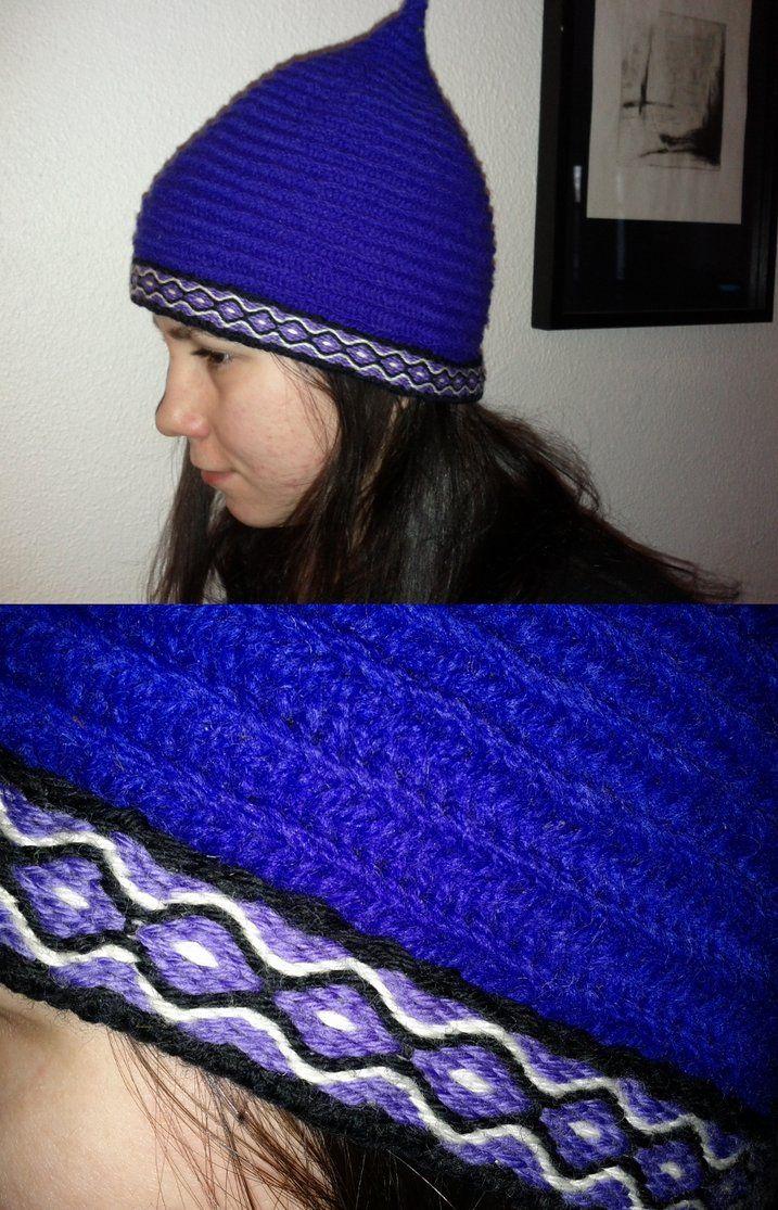naalbinding hat with tablet weaving (viking)