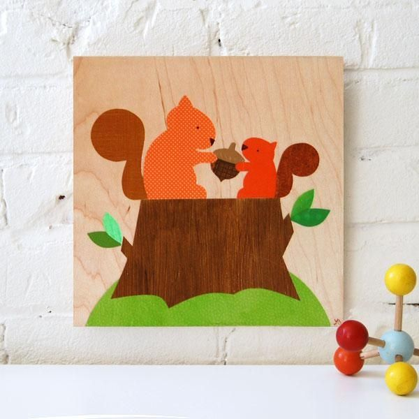 Squirrel With Baby Wood Collage