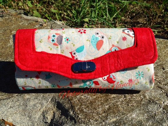 Necessary Clutch Wallet with red trim and cute little owl prints