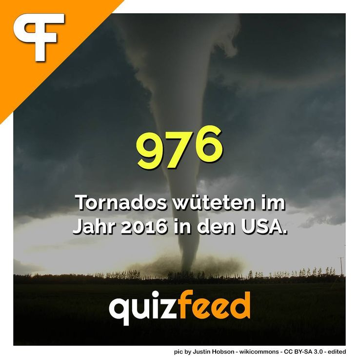 976 Tornados wüteten im Jahr 2016 in den USA. Allein in diesem Jahr sind es bis dato über 1100 Tornados.  Wissen clever verpackt!  #tornado #tornados #usa #unwetter #extreme #zerstörung #gewitter #wetter #klima #klimawandel #erde #natur #wind #windig #unglaublich