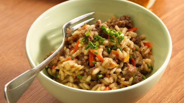 Ground Beef Risotto recipe and reviews - Rice is twice as nice in this recipe - it is a side and main dish in one!