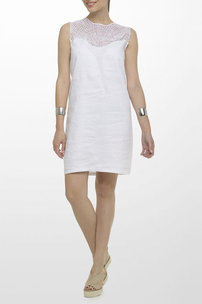 Sarah Lawrence - linen dress with embroidery.
