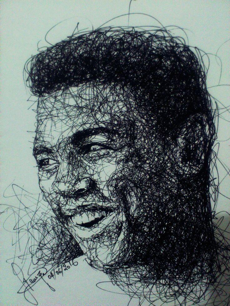 Scribble Drawing, Muhammad ali , R.I.P <3 Black pen on paper. 04/06/2016