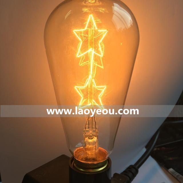 Two star filament edison bulb