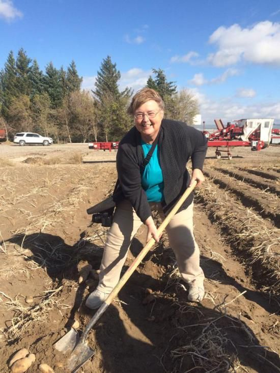 Digging potatoes in Idaho with Idaho Potato Commission on Idaho Potato Harvest Tour