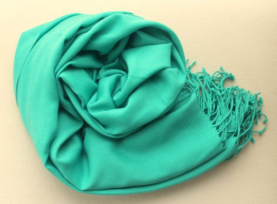 Green Silky Pashmina / Tasseled Infinity Scarf / by BERRDESIGNS, $11.99