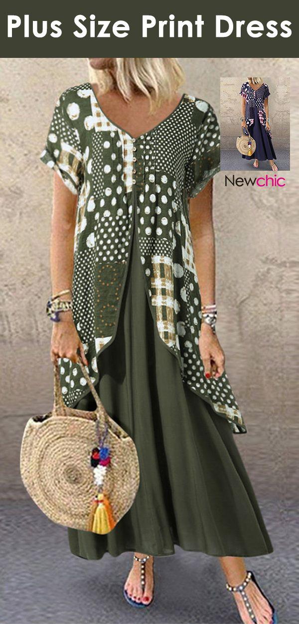 Heißer Verkauf | Plus Size Print Kleid