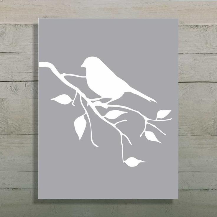 Bird Silhouette Art Print, Tree Branch Art, Gray Nursery, Kitchen Print, Bathroom Art, 8x10. $15.00, via Etsy.