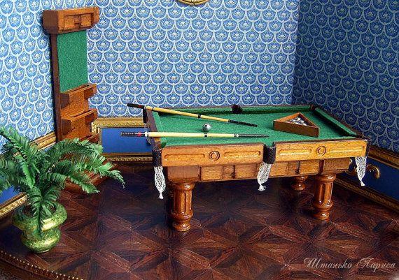 Wooden billiard table . Cue rack and all от ShtankoLarisa на Etsy