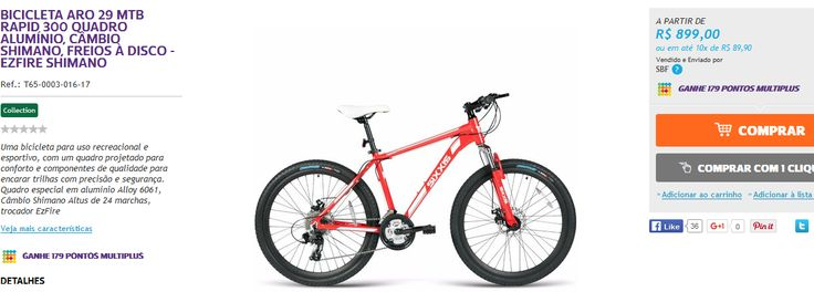 Bicicleta Aro 29 MTB Rapid 300 Quadro Alumínio, Câmbio Shimano Altus 24 Marchas, Freios à Disco >