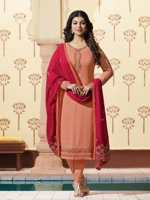 d405604d69 Ayesha takia peach wedding straight cut suit online which is crafted from  georgette fabric with exclusive embroidery and stone work.