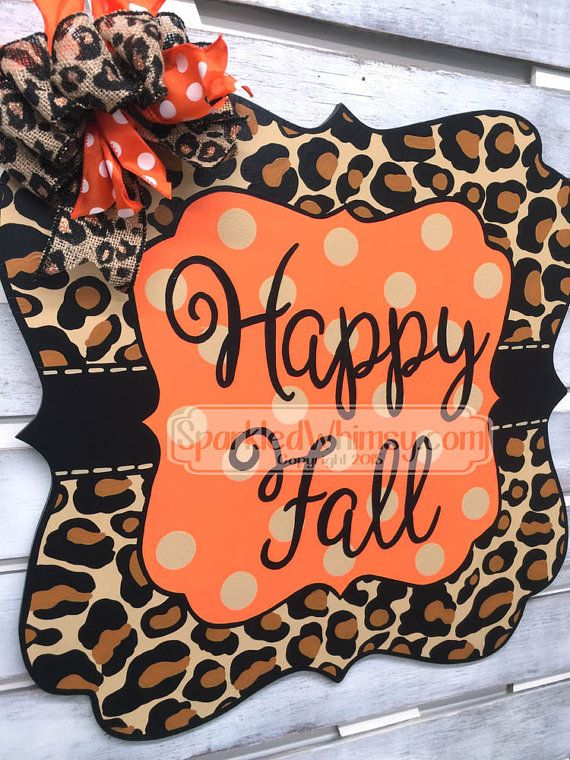 Fall Door Hanger: Leopard Print Sign Halloween by SparkledWhimsy