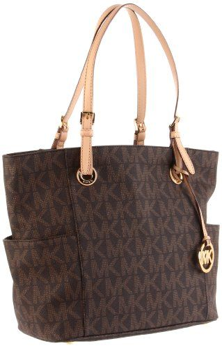 MICHAEL Michael Kors Signature Tote,Brown,one size - http://handbags.apparelique.com/handbags/michael-michael-kors-signature-totebrownone-size/