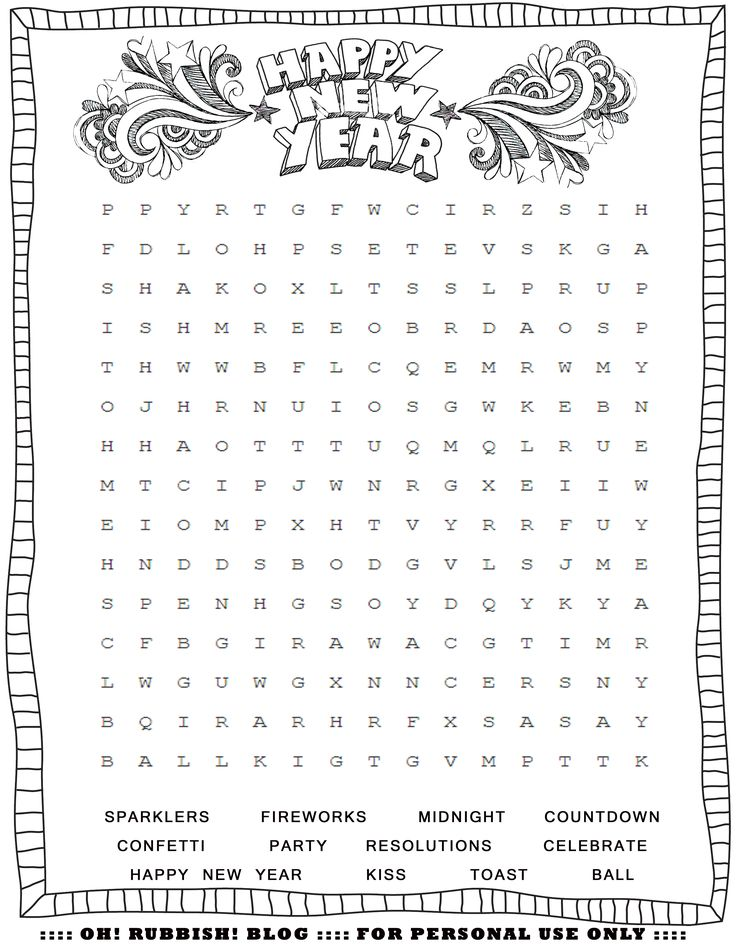 New Year's Printable Activities Entertain your kids