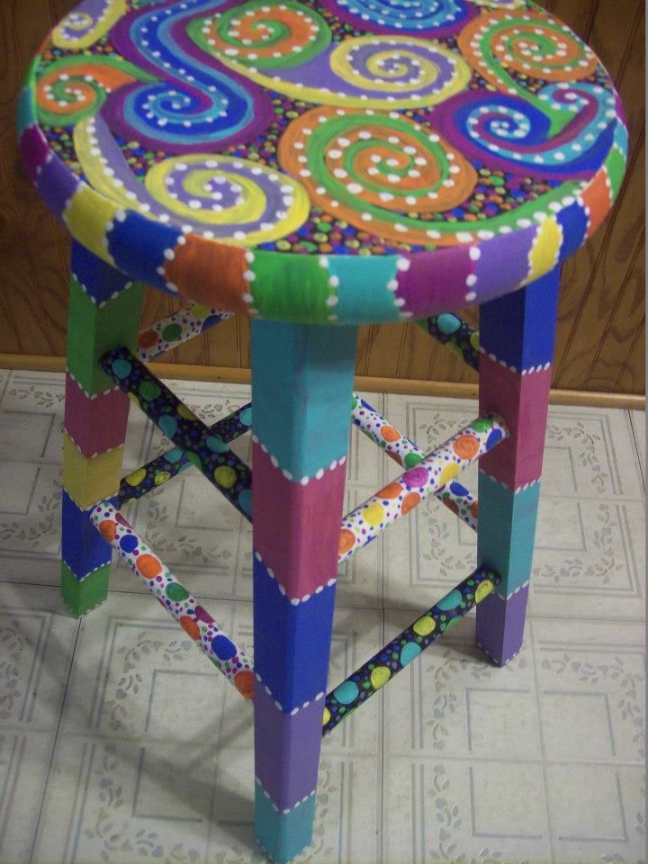 Fun-Colorful-Funky hand painted design on a wooden stool...View #4. https://www.facebook.com/buggybeandesigns