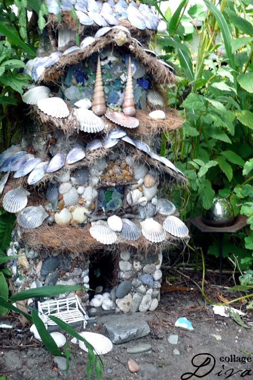 Seashell fairy house?Crafts Using Shells, Gardens Ideas, Fairies House From Seashells, Seashells Projects, Fairies Gardens, Sea Shells Fairies House, Seashells Fairies House, Birds House, Miniatures Gardens