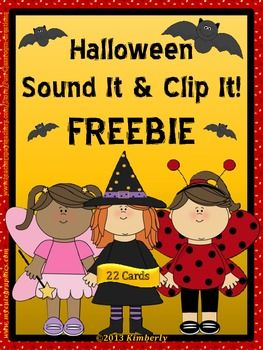 """{FREEBIE} Halloween Sound It & Clip It!  Be sure to """"FOLLOW"""" my Teachers Pay Teachers store to receive notices of new FREEBIES, sales, and products."""