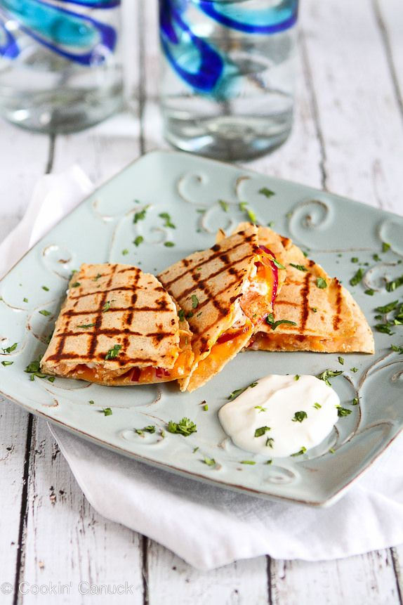 Light Buffalo Chicken Quesadillas Recipe...Healthy & delicious tail-gating food! | cookincanuck.com