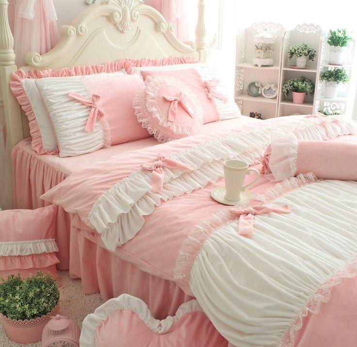 Amazon.com: FADFAY muchachas linda felpa corta lecho blanco romántico volante funda nórdica Conjuntos de 4 piezas, Rosa gemelo: Home & Kitchen