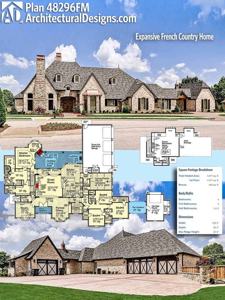 Plan 48296FM Expansive French Country Home 6435
