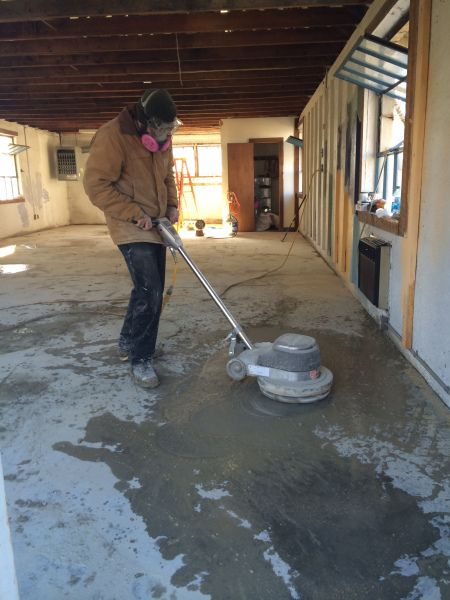 Step by step process used for H&C water based concrete stain by DIY'ers
