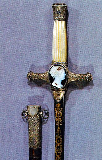 "Sword of Joachim Murat, King of Naples Guard of silver. His wife Caroline's profile is worked into the cameo. Initial entering of ""JN"" and ""C""."