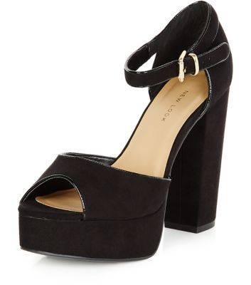 Wide Fit Black Ankle Strap Chunky Block Heel