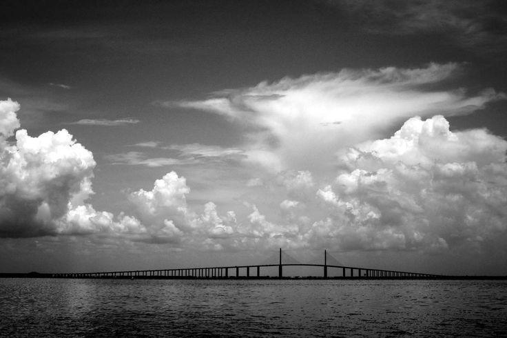 Sunshine Skyway Bridge, printable art photography Florida Tampa clouds water travel architecture landscape monochrome black & white wall art by KatandKout on Etsy