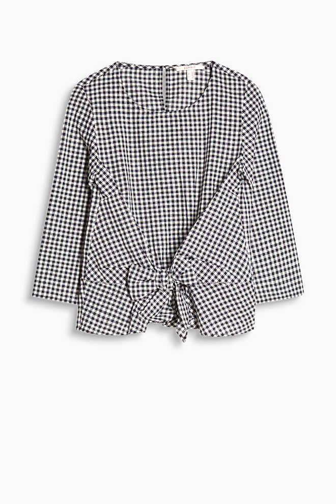 Esprit / Vichy-Bluse aus Leinen-Baumwoll-Mix