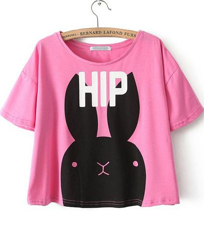 Shop Pink Short Sleeve HIP Rabbit Print T-Shirt online. SheIn offers Pink  Short Sleeve HIP Rabbit Print T-Shirt & more to fit your fashionable needs.