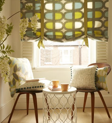 #southbank #blinds #interiors #softfurnishings #cushions #curtains #madetomeasure #green #yellow #neutrals #contemporary www.ashley-interiors.co.uk