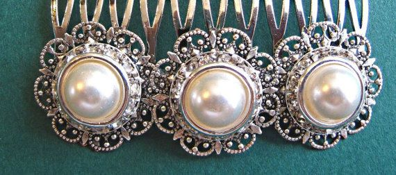 Wedding Hair Comb  -Ivory Pearl,  or White Pearl ,Vintage Style, Bridal Hair Accessories. $37.50, via Etsy.