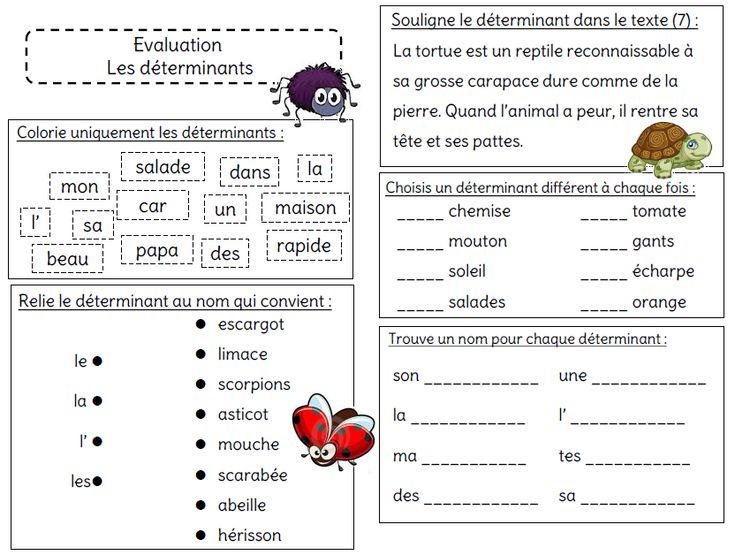 Evaluation sur le déterminant - L'école de Crevette