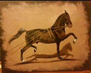 Hackney-horse-pony-in-training-oil-painting