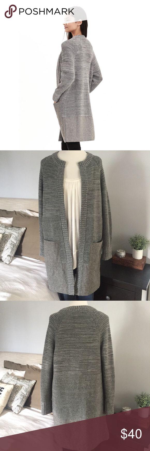 "Long Knit Cardigan with Tweed Hem Thick mixed knit long jacket/cardigan.Length 35""  New without tags. No trades Banana Republic Jackets & Coats"