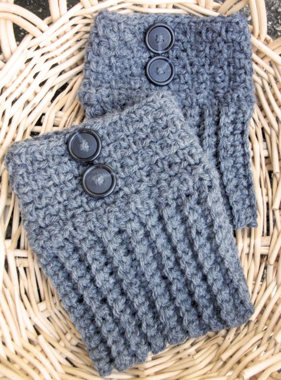 Boot Cuffs Grey Boot Socks Crocheted Gray Legwarmers Boot Toppers