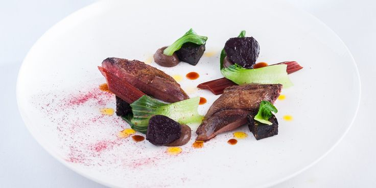 Chef Matt Worswick's recipe for indulgent roast wood pigeon with black pudding and baby beets.