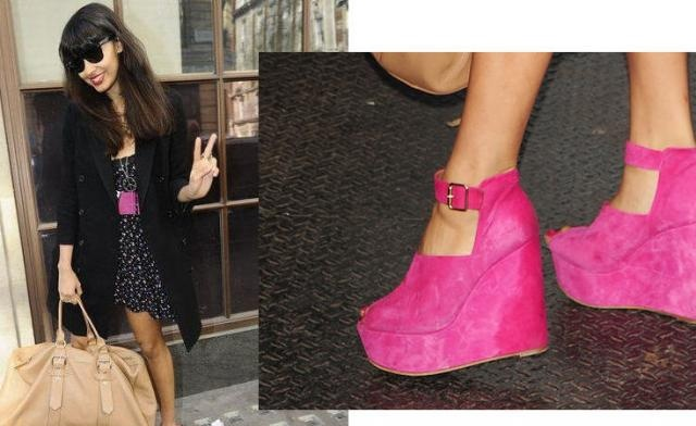 Jameela Jamil from T4 & Radio 1 in Steve Madden Fuscia Super Wedge £79.99 available at New Look Brands now! http://www.newlook.com/shop/womens/shoes/steve-madden-fuscia-super-wedge_249963477