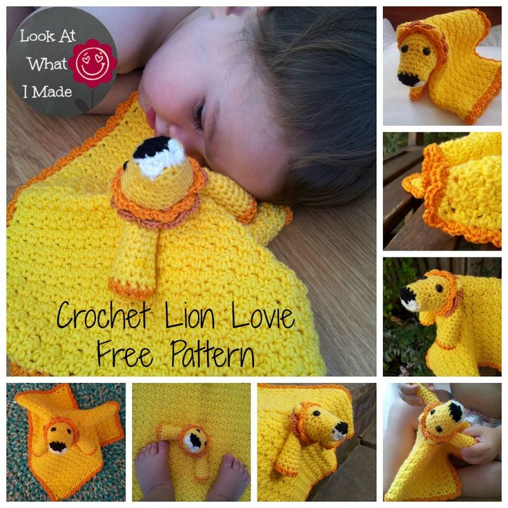 Free crochet pattern for a lion lovie or comfort blanket. US terminology, loads of photos and helpful links. Enjoy!