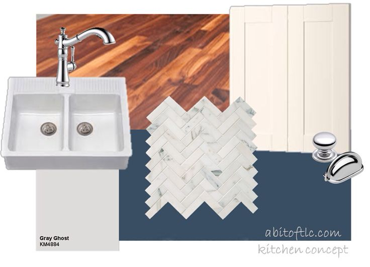 Kitchen concept and inspiration mood board. Navy and white IKEA cabinets paired with wood butcher block counters, Carrara herringbone tile backsplash, an apron front farmhouse sink and chrome hardware and details for a traditional but updated style and feel.