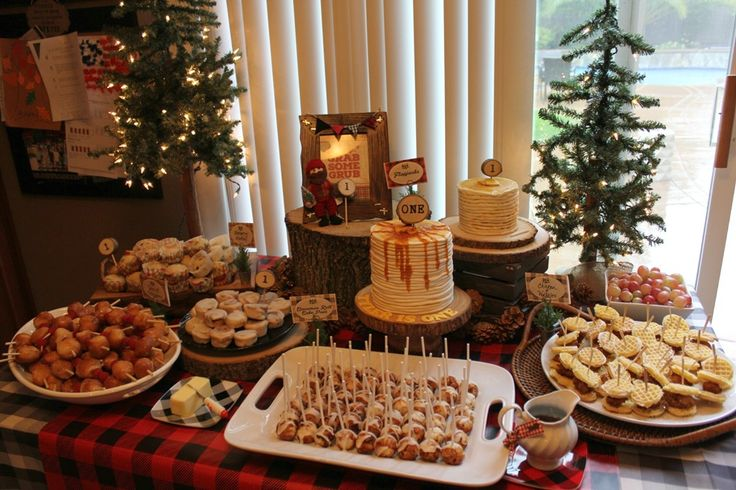 buffet table for Lumberjack First birthday Party Party décor decorations Plaid