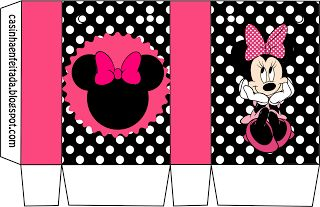 Kit Festa Minnie Rosa Preto e Pink: Mickey Mouse, 1 1 Paper Boxes, Minnie Party, Kits Para, Minnie Mouse, Minnie Rosa, Print